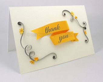 printable thank you card envelope pdf quilling vintage banner floral yellow grey ivory thanks