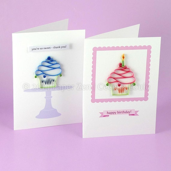 Cupcake Birthday Card Quilling Patterns Pdf Tutorial Etsy