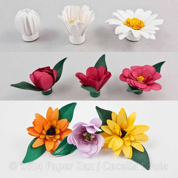 3d Fringed Paper Flowers Quilling Patterns Tutorial Svg Etsy
