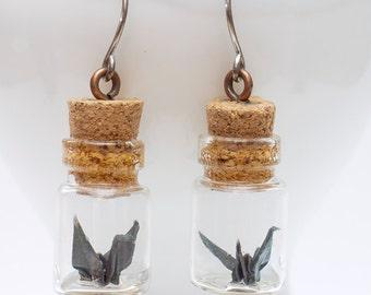 Origami earring mini black crane in miniature glass bottle