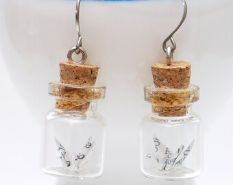 Origami earring mini recycled paper crane in miniature glass bottle -MADE TO ORDER