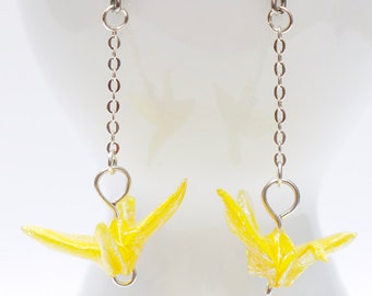 Origami earrings sparkly yellow paper crane on thin silver chain eco-friendly jewelry