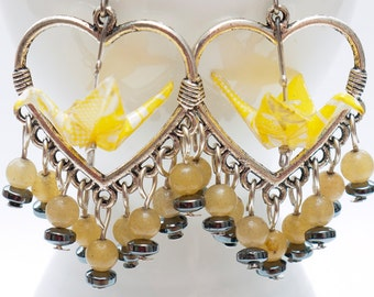 Origami crane earrings of yellow paper in silver heart shaped hoop with citrine and hematite