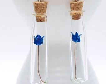 Origami earring dark blue rose in long thin glass bottle