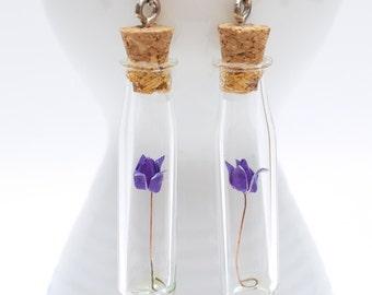 Origami earring purple rose in long thin glass bottle