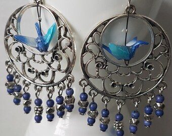 Origami crane earrings of blue paper in silver round shaped hoop with stones