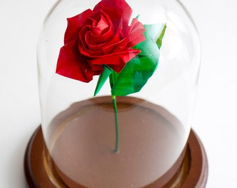 Eternal red origami rose / Paper anniversary gift / Centerpiece / Small size -made to order