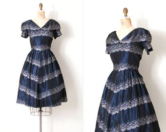 vintage 1950s dress | 50s metallic blue lace print dress  | medium m