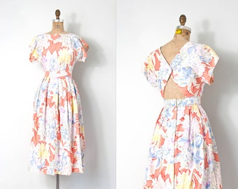vintage 1980s dress | floral print open back 80s dress | cotton (extra small xs)