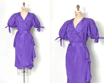 vintage 1980s dress / purple puffy sleeve 80s wrap dress (small medium s m)