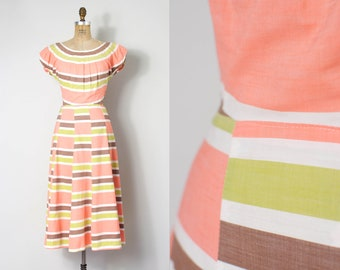 1940s dress | color block striped 40s dress | peach brown lime (small s)