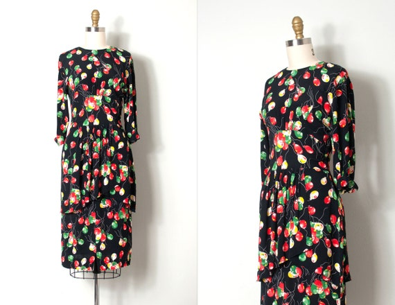 vintage 1940s dress | 40s Balloon Print Rayon Dres