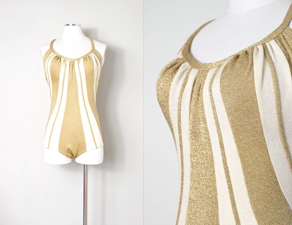vintage 1950s bathing suit | gold metallic 50s bat