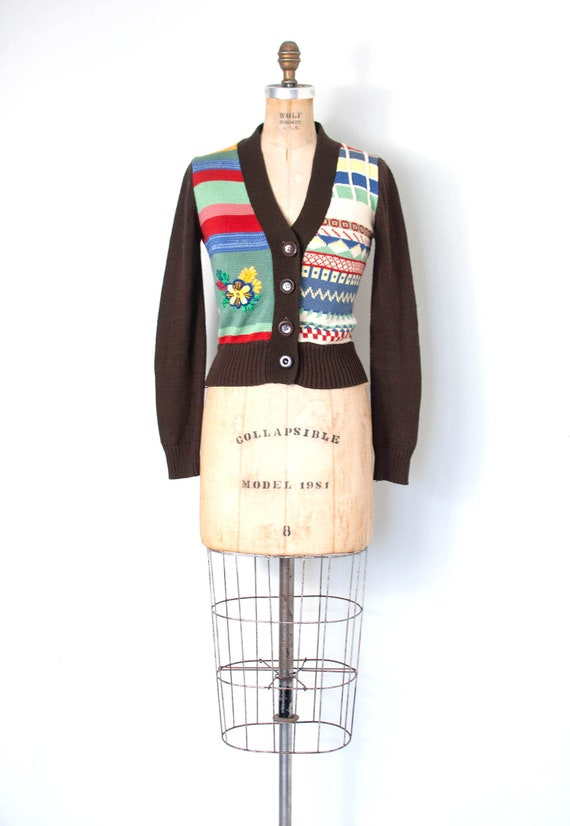 1970s Patchwork Embroidered Cardigan Sweater | XS