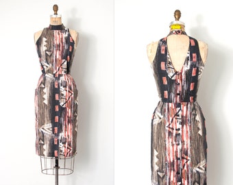 vintage 1980s dress | open back 80s halter dress | abstract print (extra small - small)