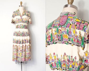 vintage 1930s dress | 30s novelty border print dress (extra small xs)