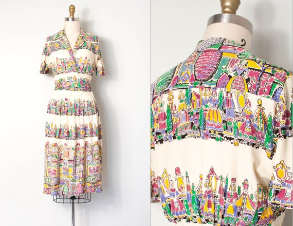 vintage 1930s dress | 30s novelty border print dre