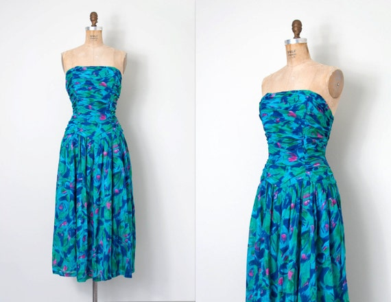 1980s dress / strapless indian cotton 80s Adini dr