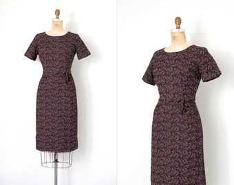vintage 1950s dress / 50s eyelet wiggle dress / brown and black / small s
