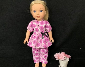 """14.5/"""" Doll Clothes-fit American Girl-Wellie Wishers-Top//Pants-Pajamas-Pk Heart O"""