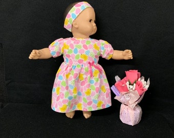 """Bitty Baby Doll Clothes Handmade For 15/"""" Dolls Christmas Owl Dress Panties Bow"""