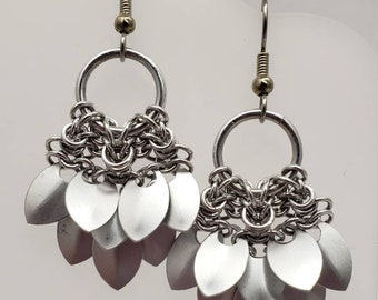 Mermaid Tail Scale Earrings - Silver
