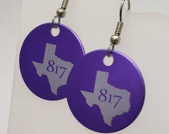 817 area code Texas earrings - Fort Worth - Tarrant County