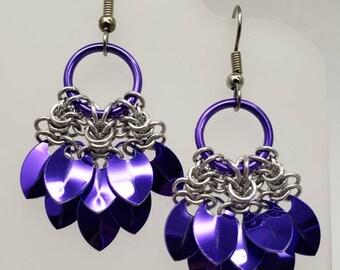 Mermaid Tail Scale Earrings - Purple