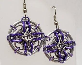 Purple Chainmaille Dreamcatcher Web Earrings