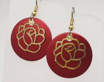 Round Rose Gold Filigree Earrings - choose your color