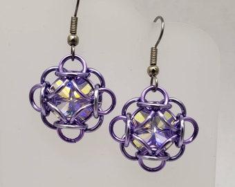 Aurora Crystal Cushion Earrings - made with Swarovski crystal rivolis
