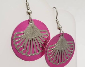 Round Shell Filigree Earrings - choose your color