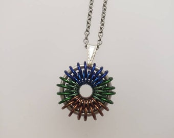 Iris Pendant, Blue Green Brown Peacock, Stainless steel chain included