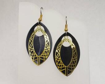 Gold Leaf Filigree Earrings - choose your color