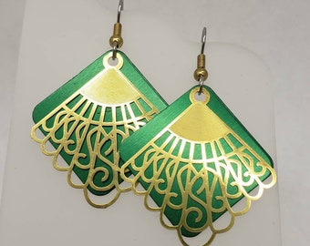 Victorian Swirl Gold Filigree Earrings - choose your color