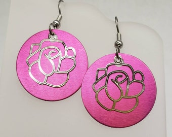 Round Rose Filigree Earrings - choose your color