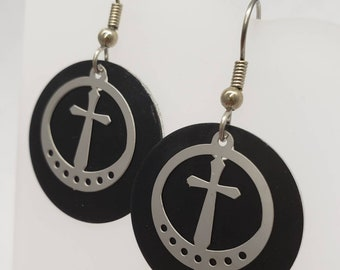 Round Cross Filigree Earrings - choose your color