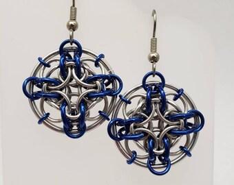 Blue Chainmaille Dreamcatcher Web Earrings
