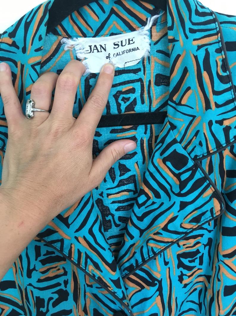 Vintage Jan Sue abstract dress M L