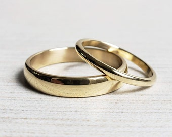 Traditional Gold Wedding Band Set. Domed Half Round Rings in Yellow or Rose 14k or 18k Gold, Polished or Matte.