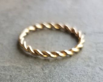 2mm Yellow or Rose Gold Twist Wedding Band. Solid 14k Gold Braided Rope Eternity Ring.