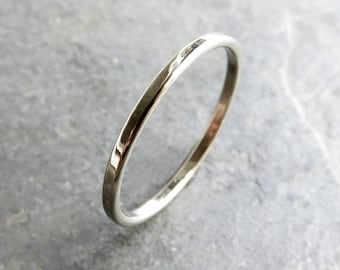 Thin, Flat White Gold Wedding Band - Solid 14k Gold Narrow Wedding Ring - Polished or Matte, Standard or Hypoallergenic 950 Palladium White