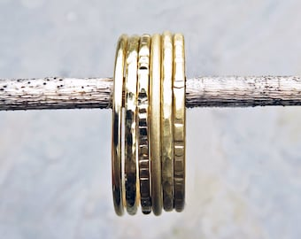 Thin 18k Stacking Ring in Smooth, Hammered, Brushed/ Matte/ Satin, or Notched Finish - Super Skinny 1mm Ring - Textured Gold Promise Ring