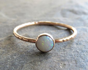 5mm AAA Australian White Opal in Solid 14k Rose or Yellow Gold Stacking Ring, Smooth, Matte, Notched, or Hammered Band, October Birthstone