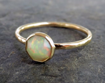 Opal Engagement Ring - Rose Cut Ethiopian Opal in Hammered Solid 14k Yellow or Rose Gold - Faceted Opal Ring - 6mm Round Welo Opal Stacking