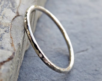 Simple Thin 14k White Gold Wedding Band in Smooth, Hammered, or Matte Finish. Full Round Plain Halo Stacking Ring.