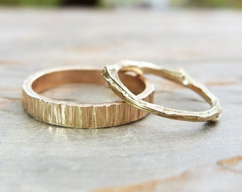 Solid 14k Matching Tree Bark & Twig Wedding Band Set. Wood Grain, Branch in Yellow, Rose, or White Gold. Nature Inspired Commitment Rings