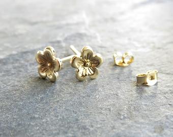 Little Gold Cherry Blossom Earrings, Pair of Solid 14k Yellow Gold Small Flower Studs - 6mm Floral Post Earrings - Sakura Button Earrings