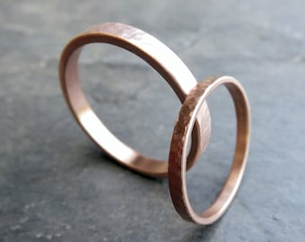 Waterfall Hammered Gold Rings - Matching Wedding Band Set in Solid 14k Yellow or Rose Gold - Matte or Polished Textured Finish