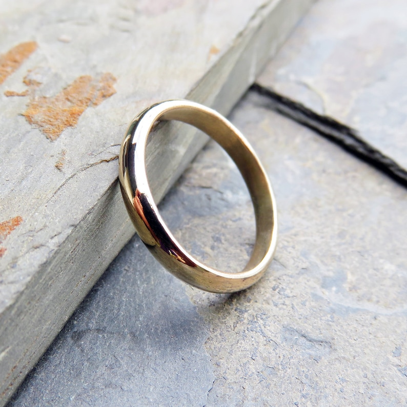 3mm Thick Gold Wedding Band or White Gold in Matte or High Polish Finish. Domed Ring in 14k or 18k Yellow Rose